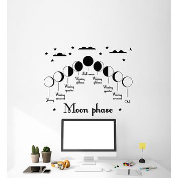 Vinyl Decal Moon Phase Nursery Decor for Kids Romantic Decor Unique Gift (g121)