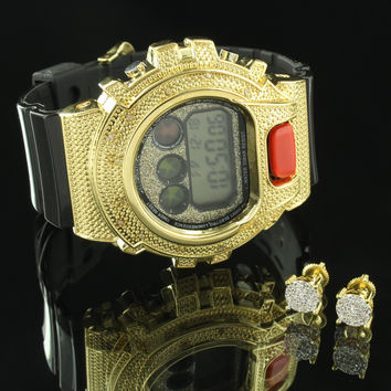 Sporty Watch Gold Tone Real Diamond Bezel Earrings Set Digital Resin Band New