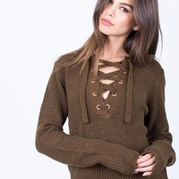 Fuzzy Lace-Up Sweater