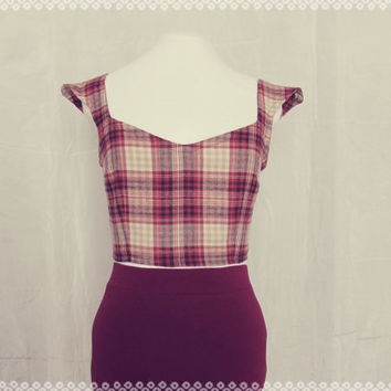 Cabin in the Woods Plaid Crop Top - Soft Maroon Plaid Cropped Top, OOAK Top in Size Small/Medium
