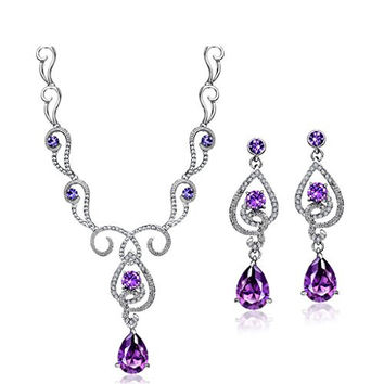 Neoglory Art Nouveau Purple Cubic Zirconia Made with Swarovski Elements Teardrop Jewelry, Necklace, Earrings