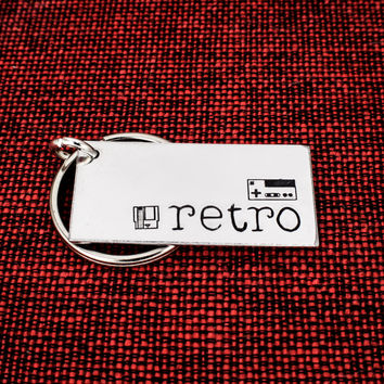 Retro Gamer Keychain - Nintendo - Classic Video Games - Game Controller - Aluminum Key Chain