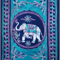 "Homestead Tapestry ~ White Elephant Blue ~ 100% Cotton ~ Single, Twin or Full Sizes (Twin 72""x108"")"
