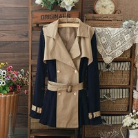 Wholesale Elegant With Belt Blcoking Color Double-Breasted Cotton Blend Coat For Women (KHAKI,S), Jackets & Coats - Rosewholesale.com