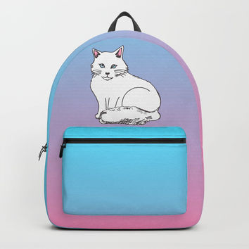 White Cat Pink & Blue Pastel Backpacks by Artist Abigail