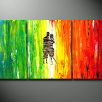Large Original abstract Painting Couple Triptych Canvas Lovers Dancing heavy texture Rainbow Colorful Fine Art bedroom decoration 48