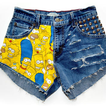 ALL SIZES Half Simpsons Half Distressed & Studded High Waisted Shorts