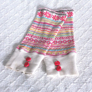 Pink Flower Baby Girl Leg Warmers 6 months- 2 years, Baby girl Boot Socks, Slouch Sock, Footless Sock, Ankle Warmer, Boot Cuff, Dance Sock