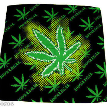 Bob Marley 100% Legal Marijuana Bandanna Double Sided Head Wrap Scarf Wristband