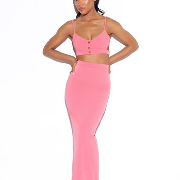My Love Is Pink Stretch Crepe Maxi Skirt