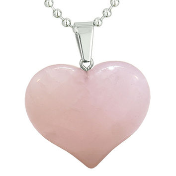 Amulet Large Puffy Heart Rose Quartz Gemstone Healing Powers Pendant 22 Inch Necklace