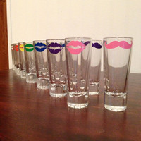 Shot Glass Set (4)- Lips, Mustache or Bowties