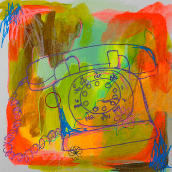 Mixed media, Drawing, Gouache, Telephone, Original, Paper, Small, Watercolour, Sketch, Pink, Artwork, Fluorescent, Red, Bright
