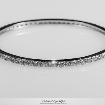 Candace Round  Prong Set Eternity Bangle Bracelet  | 12 Carat | Cubic Zirconia