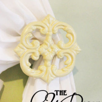 Metal Curtain Tie Back Set, Cast Iron, Victorian, Shabby Chic, Pale Lemon Yellow