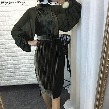 YingYuanFang 2017 spring Korean version of the collar sundries chiffon lanterns sleeve gold velvet dress