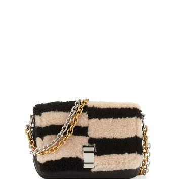 Courier-Blurred XS Shearling Fur Shoulder Bag, Black/Nude - Proenza Schouler