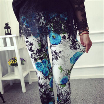Blue Roses Women Comic Cartoon Printed Leggins Stretch (ONE SIZE FITS ALL)