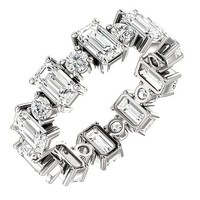 Emerald Cut Diamond Platinum Alternating Round Eternity Band Anniversary Ring