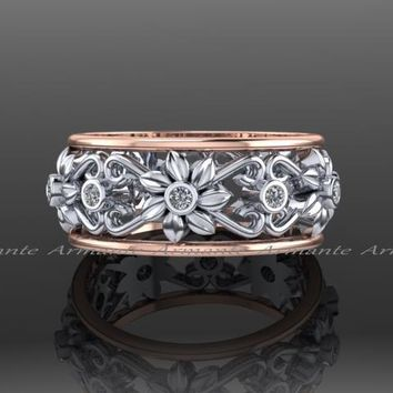 14K Rose & White Gold Floral Diamond Wedding Band Ring