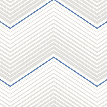 Retro Chevrons Wallpaper in White, Metallic, and Blues design by Seabrook Wallcoverings