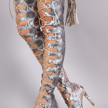 Snake Peep Toe Tassel Over-The-Knee Lace-Up Boots