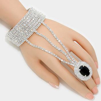 """ Onyx""  Rhinestone Bracelet & Black Crystal Ring Combo On Silver Tone"
