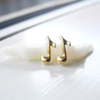 Musical Notes Earrings,Tiny Gold Brass Music Note Studs,Music Musical Jewelry,Music Gift,Unisex Earrings,Sterling Silver Earrings (E254)
