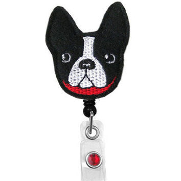 Boston Frenchie Puppy - Name Badge Holder - Nurses Badge Holder - Cute Badge Reels - Unique ID Badge Holder - Felt Badge - RN Badge Reel