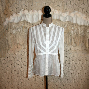 White Blouse Cotton Silk Blouse Victorian Edwardian Lace Embroidered Blouse Long Sleeve Button Up Romantic Small Medium Womens Clothing