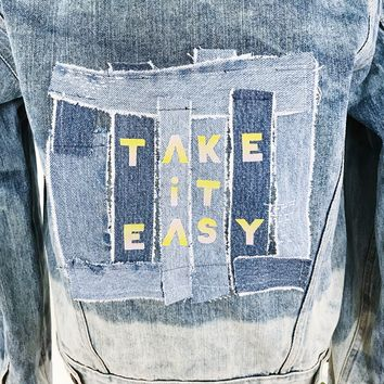 Take it Easy Bleach Dipped Denim Jacket