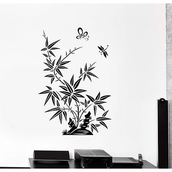 Wall Decal Reed Butterfly Dragonfly Beautiful Oriental Vinyl Stickers Unique Gift (ig2839)