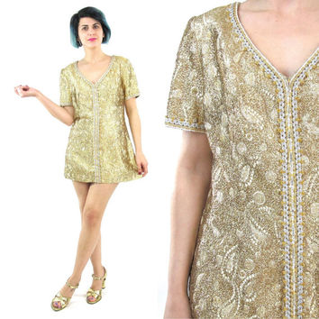 1960's Gold Mini Dress Metallic Gold Brocade Dress Go Go Mod Dress 60s Beaded Ultra Mini Dress Paisley Print Short Sleeve Party Dress (S/M)