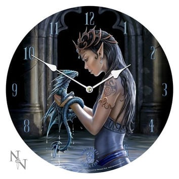 13.5 Water Dragon Anne Stokes Collection Fantasy Goth Angel Art Round Wall Clock