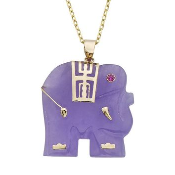 Lavender Jade & Lab-Created Ruby 14k Gold Elephant Pendant Necklace (Purple)