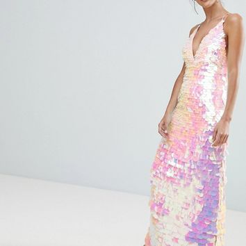 A Star Is Born Cami Strap Maxi Dress with Iridescent Overscale Sequins at asos.com