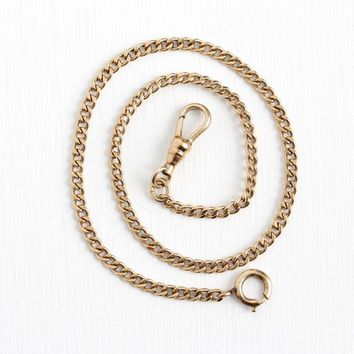 Vintage Watch Chain - 12k Rosy Yellow Gold Filled Pocket Watch Jewelry - Retro Plain Curb Chain Swivel Clip GF 13 Inch Bracelet Choker