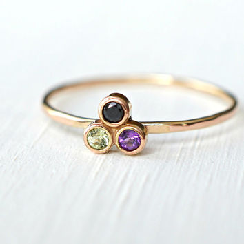 3 Stone Ring, 14k Gold Ring, Birthstone Jewelry, Stackable Ring, Diamond Ring, Ruby Ring, Rose Gold Ring, Anniversary Gift, New Mom Gift