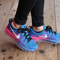 Women's Nike Flyknit Air Max Running Shoes 'Black/White-Blue Glow-Pink' (Tmall ORIGINAL)
