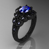 Art Masters Nature Inspired 14K Black Gold 1.0 Ct Oval Royal Blue Sapphire Leaf and Vine Solitaire Ring R267-14KBGBS