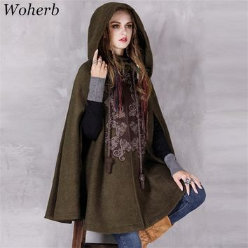 Woherb Winter Newly Cloak Women Woolen Coat Ethnic Style Thick Embroidery Cape Outwear Drop-shoulder Sleeve Hooded Coats 73628