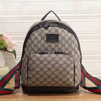 Gucci Fashion Leather Backpack Travel Bookbag Shoulder Bag Daypack