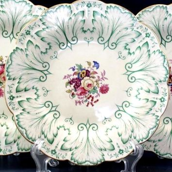 Circa 1930 Green Embossed Rim Hand Painted English Transferware Plate Bouquet of English Flowers