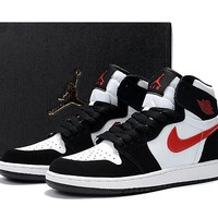 Best Deal Online Nike Air Jordan Retro 1 OG High GS Black White Red Women Sneakers