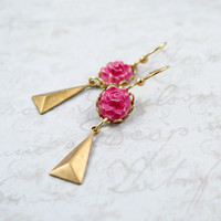 Triangle Drop Earrings with Pink Flowers