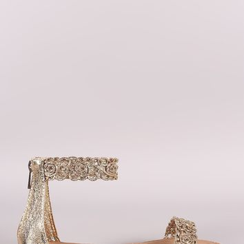 Bamboo Cracked Metallic Floral Ankle Strap Flat Sandal