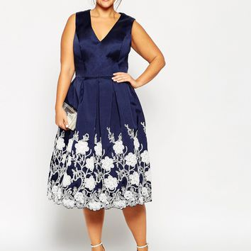 Chi Chi London Plus Plunge Neck Midi Dress with Embroidered Hem at asos.com