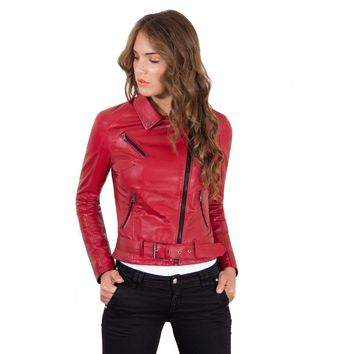 Women's Leather Belt Jacket soft lamb leather biker red color Chiodo