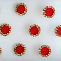 18 Red Plain Fancy Round Bindis,Round Bindis,Velvet Red Bindis,Red Round Face Jewels Bindis,Bollywood Bindis,Self Adhesive Stickers Pack