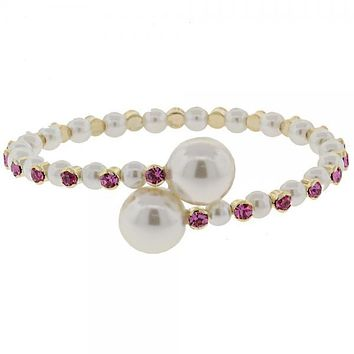 Gold Layered Individual Bangle, Ball Design, with Crystal and Pearl, Golden Tone